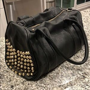 Handbags - Black leather purse with gold studs